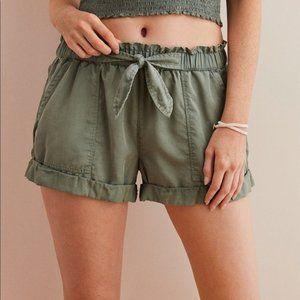 Olive American Eagle Camp Shorts